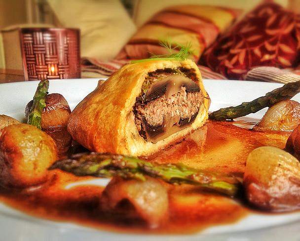 Portobello Mushroom, Hummus and Walnut Wellingtons served ...