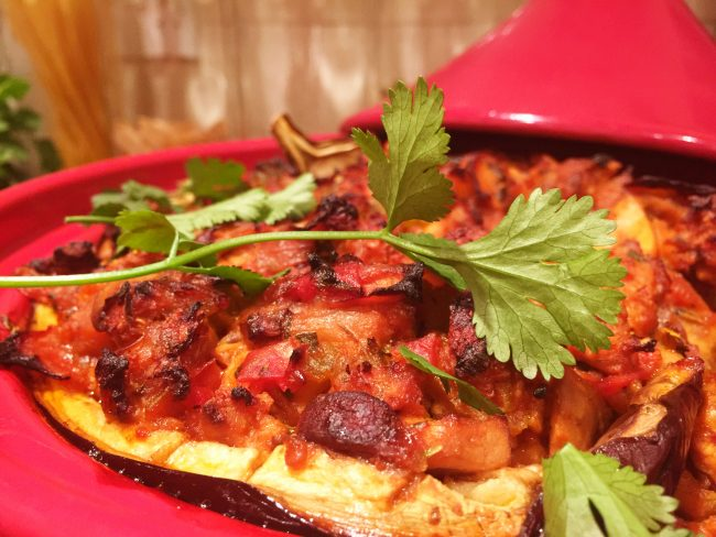 Moroccan Stuffed Aubergine with Tofu and Mushroom - The